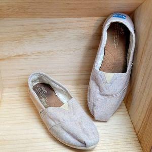 Toms Womens Light Purple Wool Slip On Flat Shoes